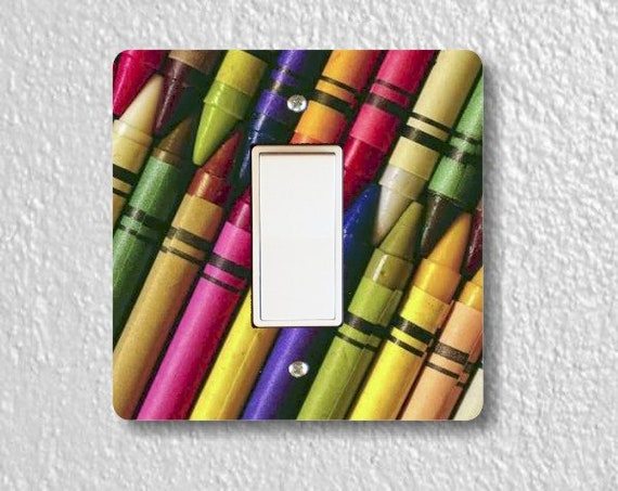 Colored Crayons Square Decora Rocker Light Switch Plate Cover