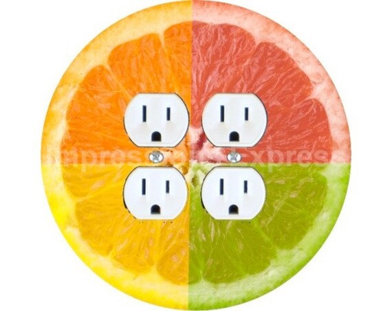 Funky Grapefruit Fruit Double Duplex Outlet Plate Cover