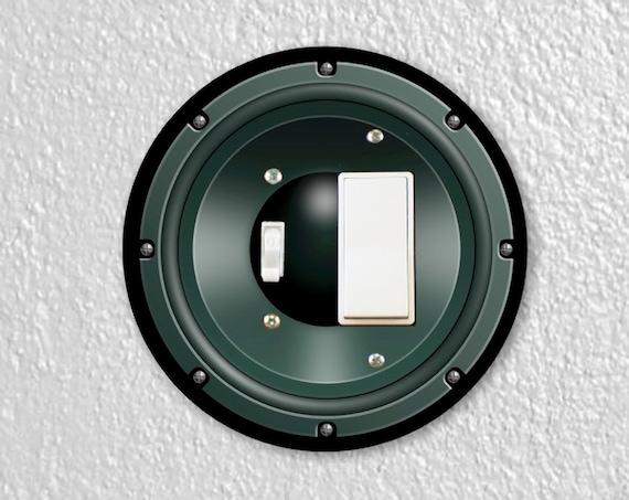 Precision Laser Cut Round Toggle and Decora Rocker Light Switch Plate Cover - Black Music Loudspeaker - Home Decor - Wallplates