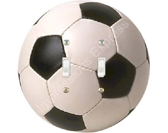 Soccer Sports Ball Double Toggle Switch Plate Cover