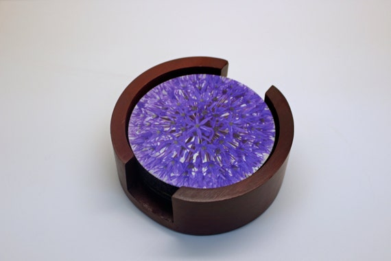Purple Allium Flower Coaster Set of 5 with Wood Holder