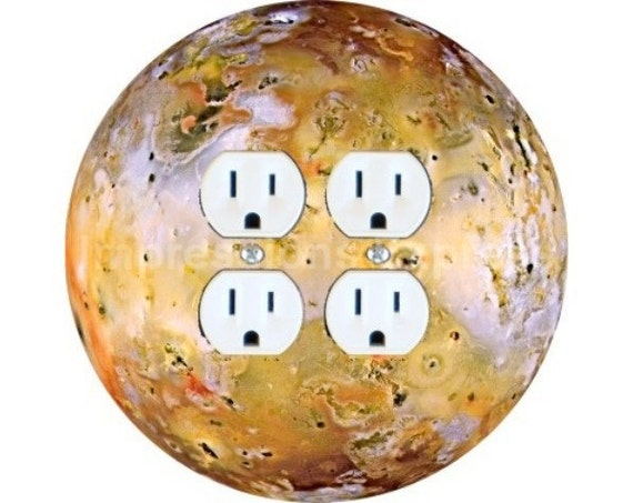 Jupiter Moon Io Space Double Duplex Outlet Plate Cover