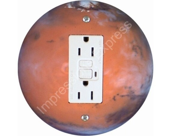 Red Planet Mars space GFI Outlet Plate Cover