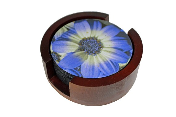 Blue Daisy Flower Coaster Set of 5 with Wood Holder
