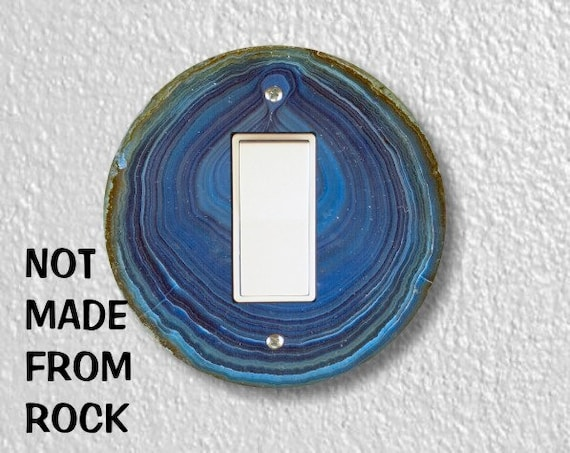 Blue Geode Stone Round Decora Rocker Switch Plate Cover