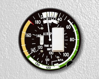 Aviation Airspeed Indicator Round Toggle and Decora Rocker Switch Plate Cover