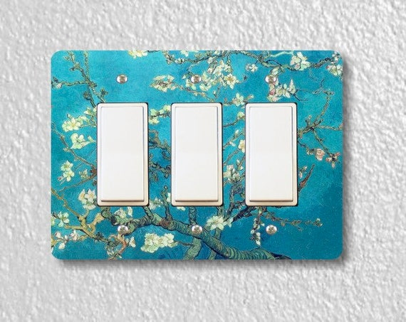 Almond Branches Van Gogh Painting Triple Decora Rocker Light Switch Plate Cover
