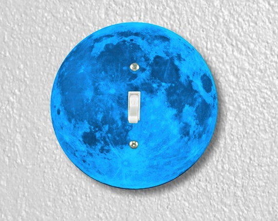 Precision Laser Cut Toggle And Decora Rocker Round Light Switch Plate Covers - Blue Moon - Home Decor - Wallplates