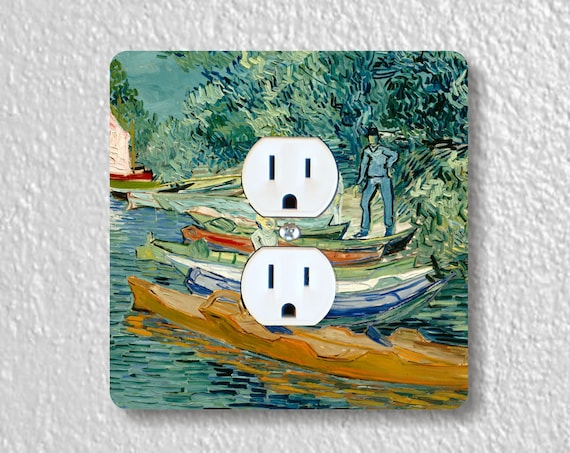 Vincent Van Gogh Almond Branches Precision Laser Cut Duplex and Grounded Outlet Square Wall Plate Covers