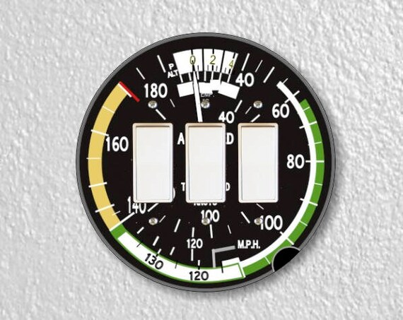 Aviation Airspeed Indicator Round Triple Decora Rocker Switch Plate Cover