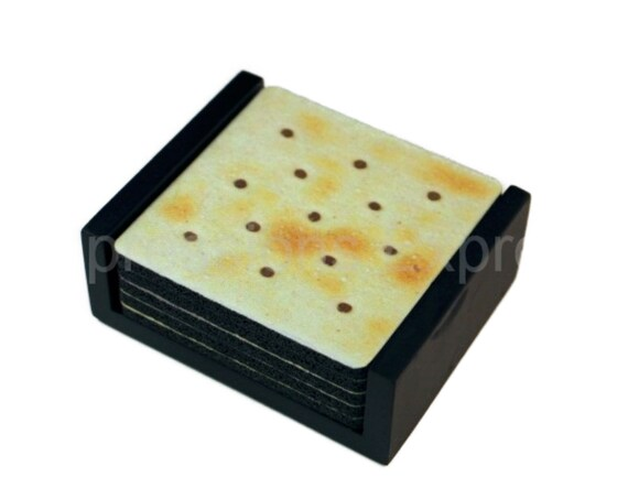 Saltine Cracker Square Coaster Set of 5 with Wood Holder