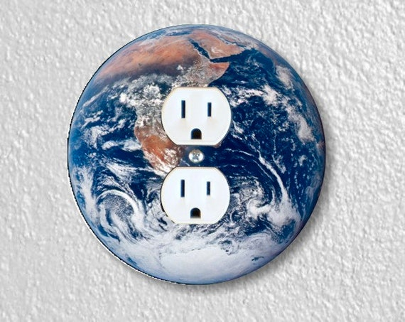 Planet Earth from Space Round Duplex Outlet Plate Cover