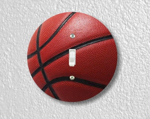 Burgundy Basketball Sport Round Single Toggle Switch Plate Cover