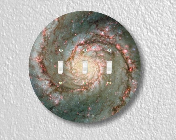 Whirlpool Galaxy Space Round Triple Toggle Light Switch Plate Cover