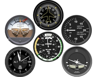 Glossy Altimeter Airspeed Attitude Direction Vertical Turn Indicator Aviation Round Cork Backed Coasters (Set of 6)
