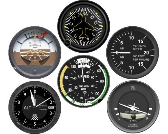 Altimeter Airspeed Attitude Direction Vertical Turn Indicator Aviation Round Coaster (Set of 6)