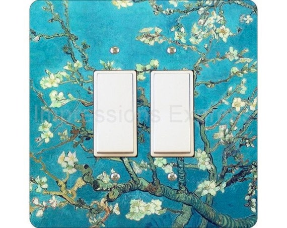 Vincent Van Gogh Almond Branches Painting Square Double Decora Rocker Light Switch Plate Cover