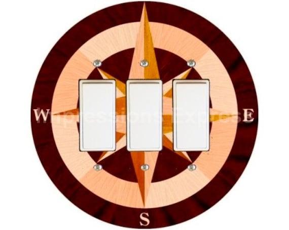 Nautical Compass Triple Decora Rocker Switch Plate Cover