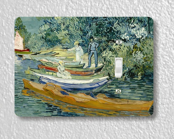 On the banks of the Oise at Auvers Van Gogh Art Painting Precision Laser Cut Toggle and Decora Rocker Light Switch Wall Plate Covers