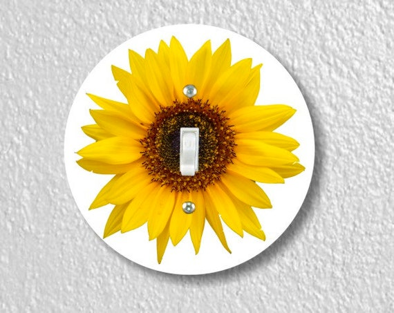 Sunflower Flower Round Single Toggle Light Switch Plate Cover