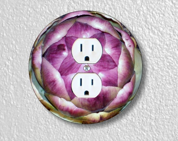 Precision Laser Cut Duplex And Grounded Outlet Round Plate Covers - Artichoke - Home Decor - Wall Decor - Wallplates