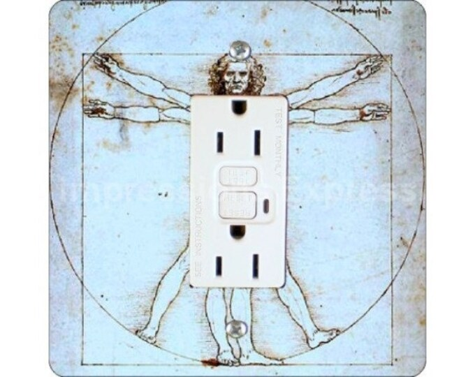Featured listing image: Vitruvian Man Da Vinci Drawing Square GFI Outlet Plate Cover