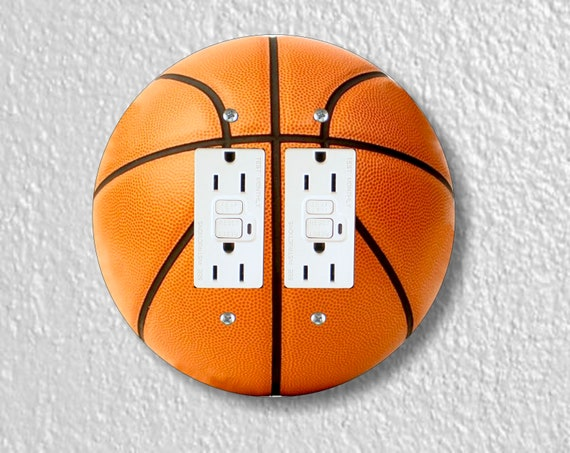 Burnt Orange Basketball Round Double GFI Grounded Outlet Plate Cover