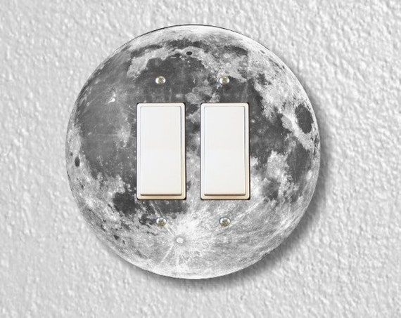 Moon from Space Double Decora Rocker Round Light Switch Plate Cover