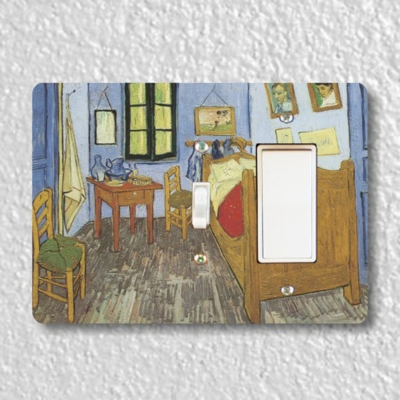 The Bedroom Van Gogh Painting - Precision Laser Cut Toggle and Decora Rocker Double Light Switch Plate Cover - Home Decor - Wall Plate