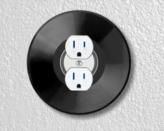 Vinyl Record Precision Laser Cut Duplex and Grounded Outlet Round Wall Plate Covers