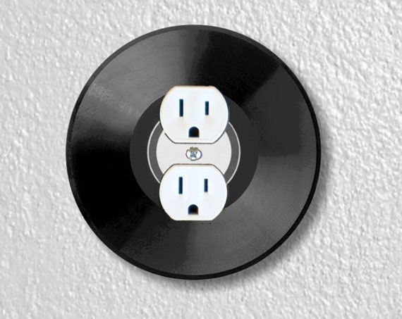 Precision Laser Cut Duplex And Grounded Outlet Round Plate Covers - Vinyl Record - Home Decor - Wall Decor - Wallplates
