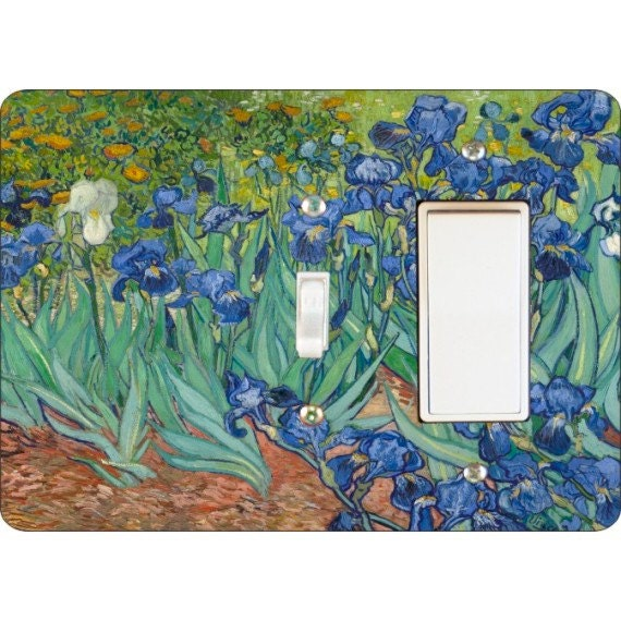 Van Gogh Irises Painting Toggle and Decora Rocker Double Switch Plate Cover
