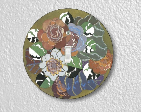 Floral Art Deco Art Nouveau Round Single Toggle Switch Plate Cover