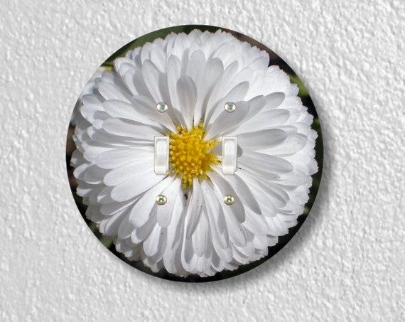 White Daisy Flower Round Double Toggle Light Switch Plate Cover