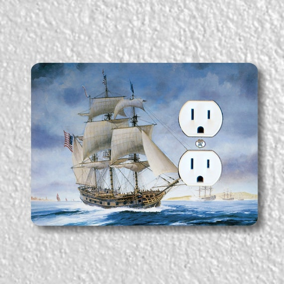 USS Ranger Tall Sailing Ship Nautical Precision Laser Cut Duplex and Grounded Outlet Wall Plate Covers