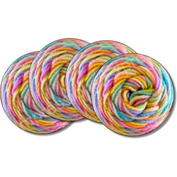 Pastel Knitting Wool Yarn Coasters - Set of 4