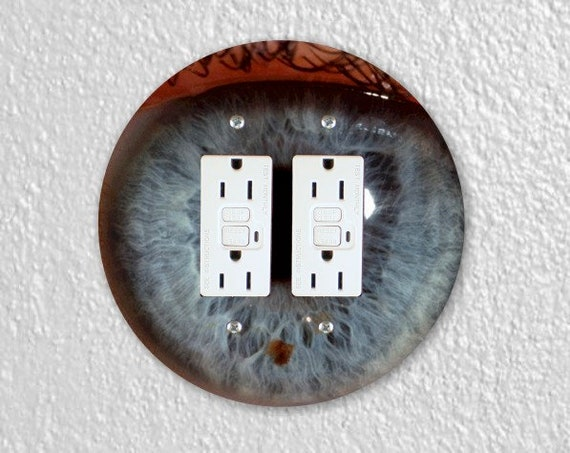 Eye Ball Round Double GFI Grounded Outlet Plate Cover