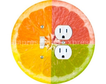 Funky Grapefruit Fruit Toggle Switch and Duplex Outlet Double Plate Cover