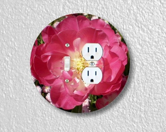 Double Tulip Round Toggle Switch and Duplex Outlet Double Plate Cover