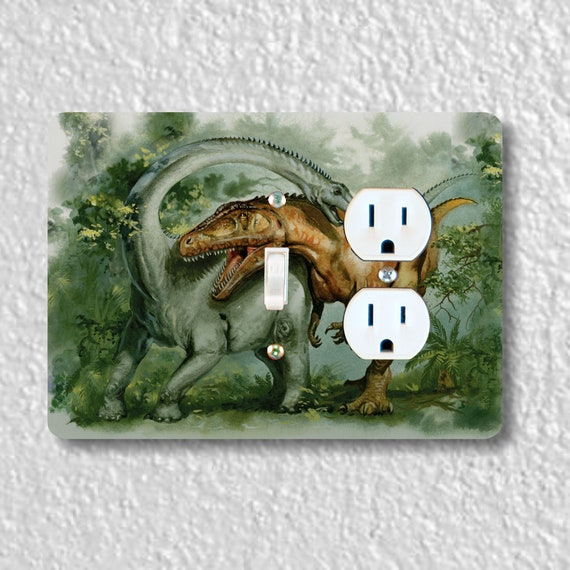 Precision Laser Cut Toggle Switch and Duplex Outlet Double Plate Cover - Rebbachisaurus and Giganotosaurus Dinosaur - Home Decor - wallplate