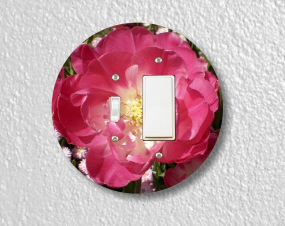 Double Tulip Flower Round Toggle and Decora Rocker Switch Plate Cover
