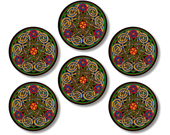 Glossy Celtic Knot Round Cork Backed Coasters (Set of 6)
