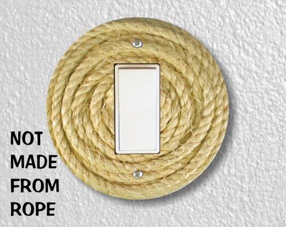 Nautical Sisal Rope Round Decora Rocker Switch Plate Cover