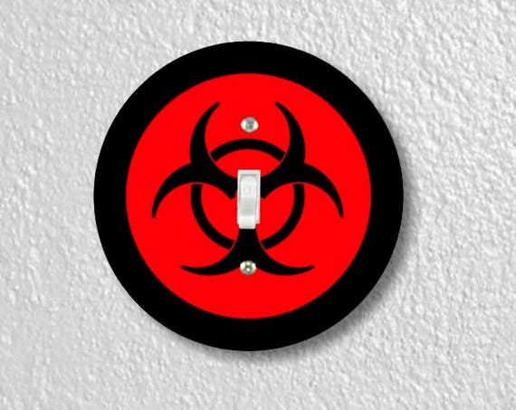 Biohazard Sign Round Single Toggle Switch Plate Cover