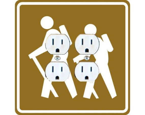 Hiking Road Sign Square Double Duplex Outlet Plate Cover