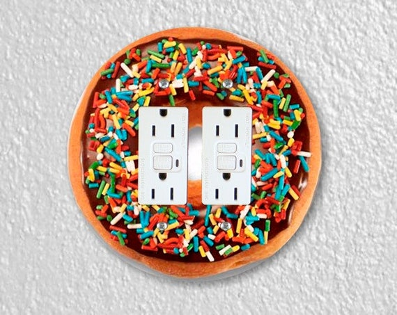 Doughnut Round Double GFI Grounded Outlet Plate Cover