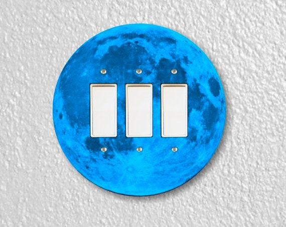 Blue Moon Round Triple Decora Rocker Switch Plate Cover