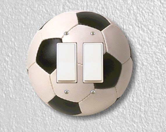 Soccer Sports Ball Round Decora Double Rocker Light Switch Plate Cover