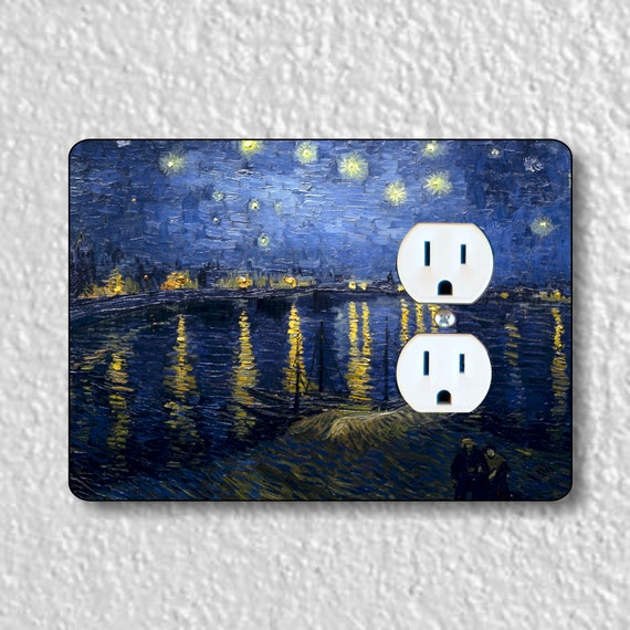 Starry Night On The Rhone Van Gogh Painting Precision Laser Cut Duplex and Grounded Outlet Wall Plate Covers