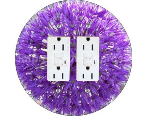 Purple Allium Flower Double GFI Outlet Plate Cover